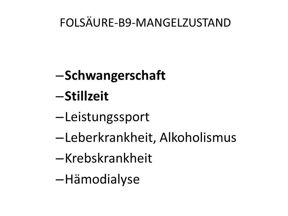 FOLSÄURE-B9 Folate sind die Folsäure und deren Derivate: – Tetrahydrofolsäure – Polyglutamylfolat – Methyltertrahydrofolsäure (MTHF) ist bioaktive For