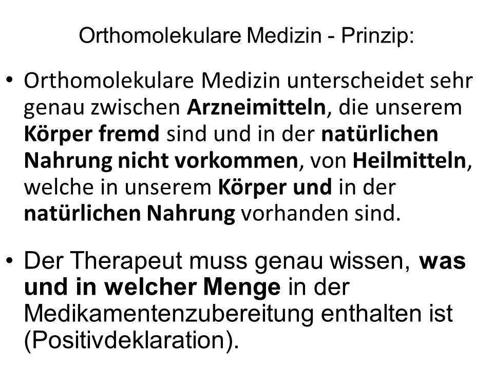 "Orthomolekulare Medizin - Prinzip "" Eure Heilmittel sollen Eure Nahrungsmittel sein und Eure Nahrungsmittel sollen Eure Heilmittel sein"" Hippocrates"