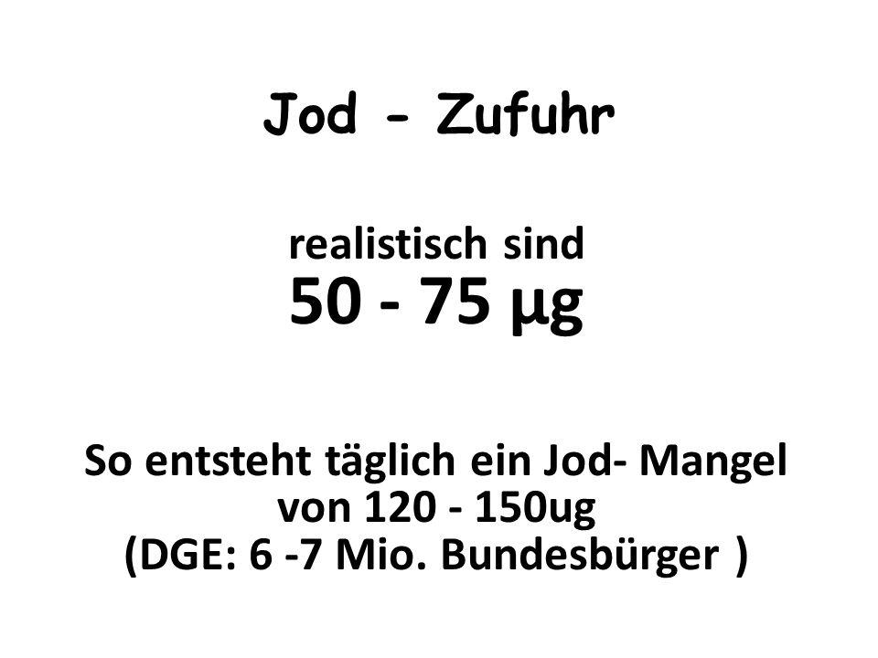 DGE: 150 - 200 μg Schwangerschaft Stillzeit bis 300 μ g THERAPEUTISCHER BEREICH WERBACH:100 - 1000μg Jod - Bedarf