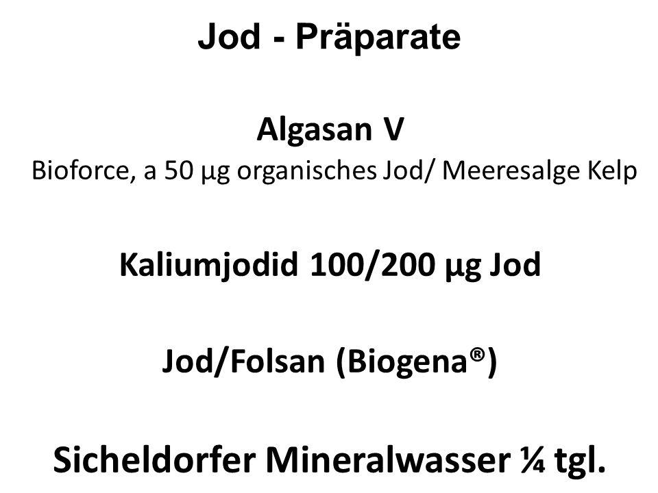 Dosierung Jodprophylaxe:200 - 300μg Jodtherapie: 0,5 - 1 mg Jod ist bis zu einer D4-Potenz zu schmecken! Schilddrüse