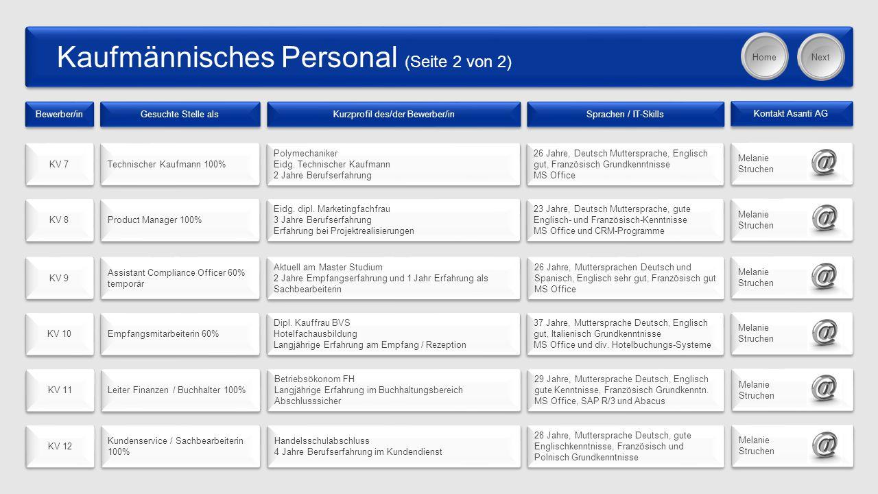Kaufmännisches Personal (Seite 2 von 2) Bewerber/in Gesuchte Stelle als Kurzprofil des/der Bewerber/in Sprachen / IT-Skills Kontakt Asanti AG KV 7 Technischer Kaufmann 100% Polymechaniker Eidg.
