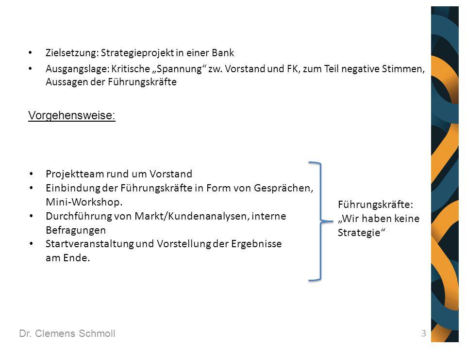 """Dr. Clemens Schmoll 3 Zielsetzung: Strategieprojekt in einer Bank Ausgangslage: Kritische """"Spannung"""" zw. Vorstand und FK, zum Teil negative Stimmen, A"""