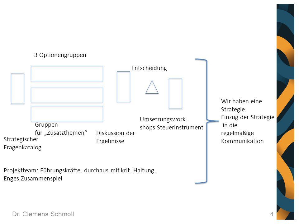 Dr. Clemens Schmoll 4 Strategischer Fragenkatalog 3 Optionengruppen Projektteam: Führungskräfte, durchaus mit krit. Haltung. Enges Zusammenspiel Grupp
