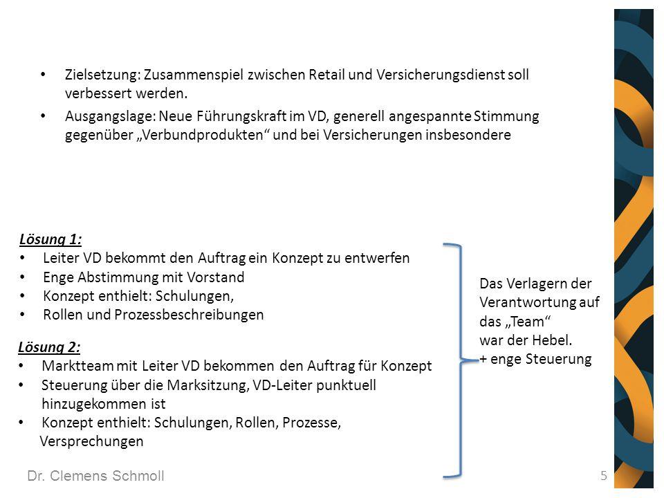 Dr. Clemens Schmoll 5 Zielsetzung: Zusammenspiel zwischen Retail und Versicherungsdienst soll verbessert werden. Ausgangslage: Neue Führungskraft im V