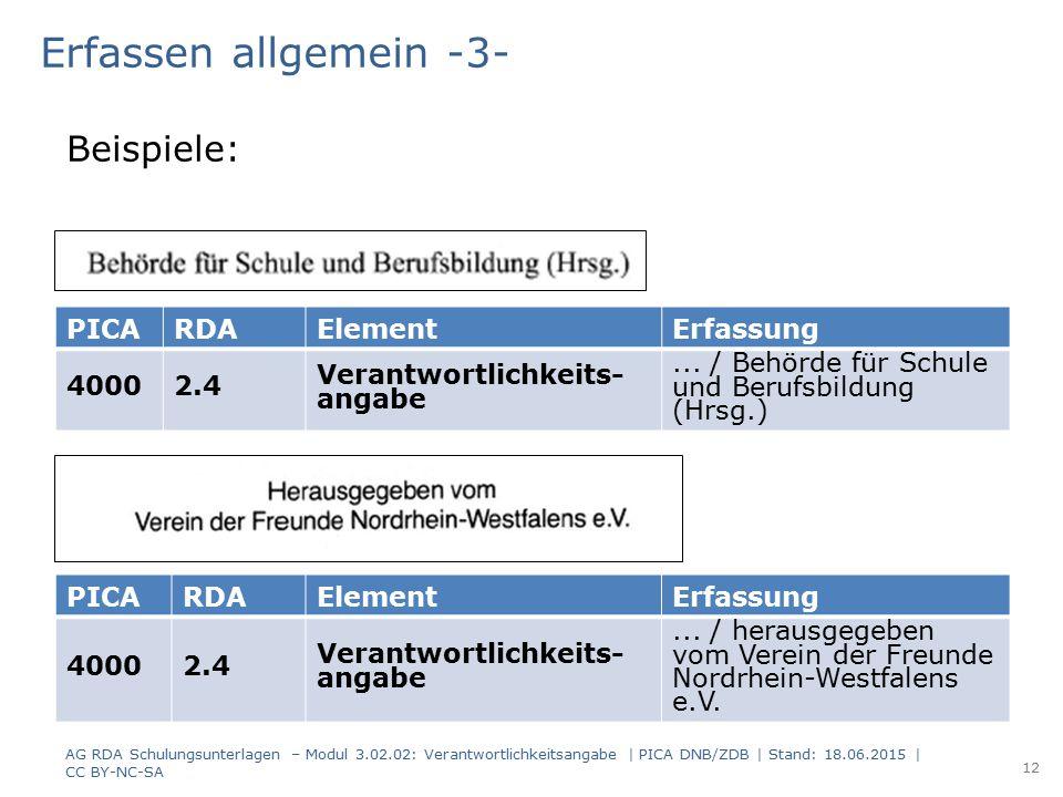 Erfassen allgemein -3- PICARDAElementErfassung 40002.4 Verantwortlichkeits- angabe... / Behörde für Schule und Berufsbildung (Hrsg.) PICARDAElementErf
