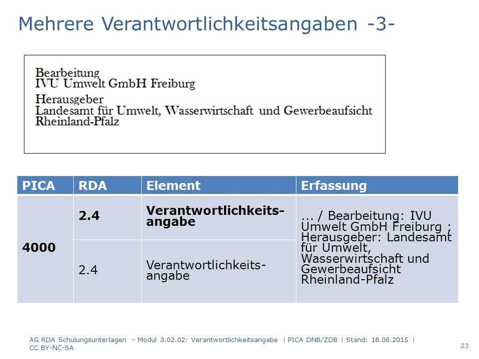 PICARDAElementErfassung 4000 2.4 Verantwortlichkeits- angabe... / Bearbeitung: IVU Umwelt GmbH Freiburg ; Herausgeber: Landesamt für Umwelt, Wasserwir