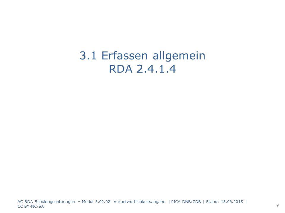 3.3 Mehrere Verantwortlichkeitsangaben RDA 2.4.1.6 AG RDA Schulungsunterlagen – Modul 3.02.02: Verantwortlichkeitsangabe   PICA DNB/ZDB   Stand: 18.06.2015   CC BY-NC-SA 20