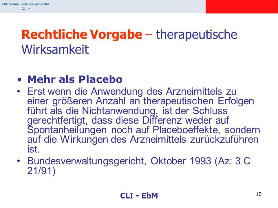 CLI - EbM 10 Rechtliche Vorgabe – therapeutische Wirksamkeit Mehr als Placebo Erst wenn die Anwendung des Arzneimittels zu einer größeren Anzahl an therapeutischen Erfolgen führt als die Nichtanwendung, ist der Schluss gerechtfertigt, dass diese Differenz weder auf Spontanheilungen noch auf Placeboeffekte, sondern auf die Wirkungen des Arzneimittels zurückzuführen ist.