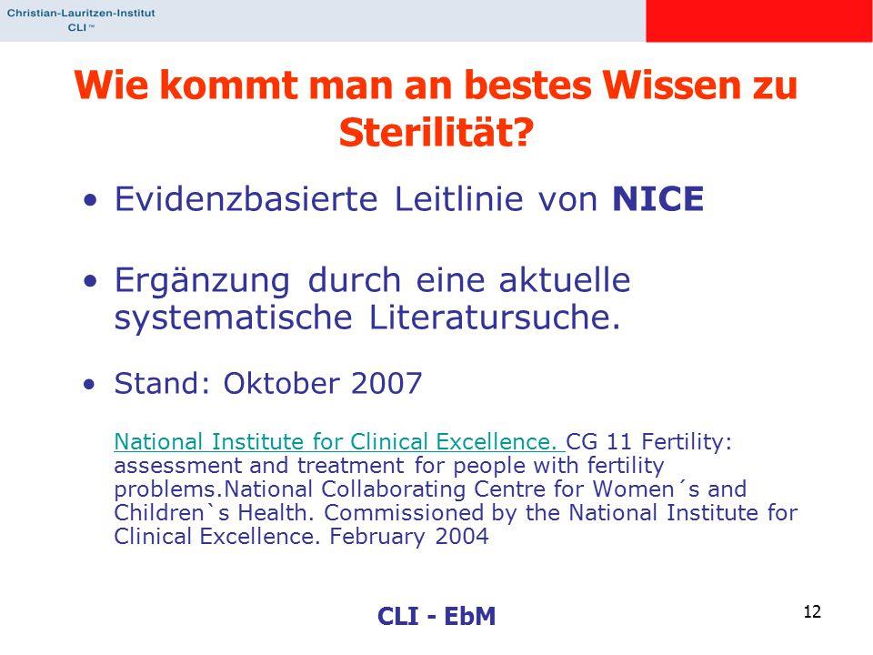 CLI - EbM 12 Wie kommt man an bestes Wissen zu Sterilität? Evidenzbasierte Leitlinie von NICE Ergänzung durch eine aktuelle systematische Literatursuc