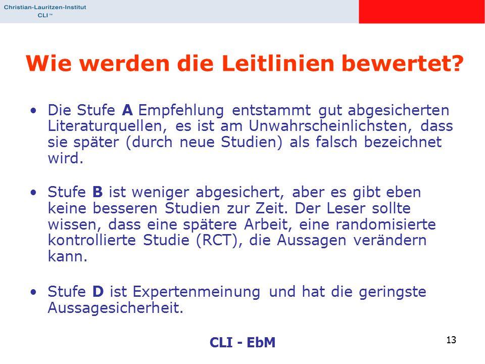 CLI - EbM 13 Wie werden die Leitlinien bewertet? Die Stufe A Empfehlung entstammt gut abgesicherten Literaturquellen, es ist am Unwahrscheinlichsten,
