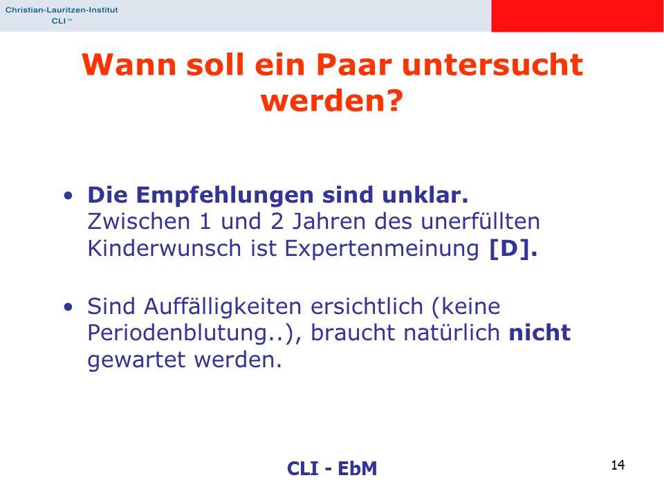 CLI - EbM 14 Wann soll ein Paar untersucht werden? Die Empfehlungen sind unklar. Zwischen 1 und 2 Jahren des unerfüllten Kinderwunsch ist Expertenmein