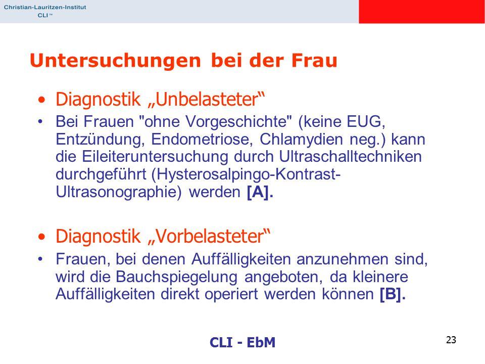 """CLI - EbM 23 Untersuchungen bei der Frau Diagnostik """"Unbelasteter Bei Frauen ohne Vorgeschichte (keine EUG, Entzündung, Endometriose, Chlamydien neg.) kann die Eileiteruntersuchung durch Ultraschalltechniken durchgeführt (Hysterosalpingo-Kontrast- Ultrasonographie) werden [A]."""
