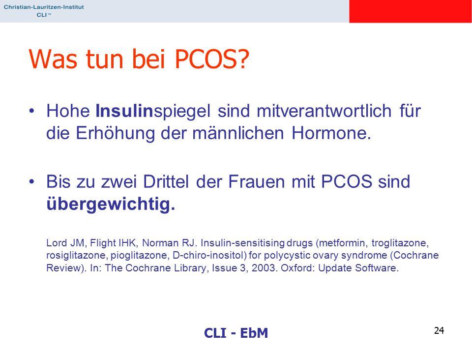 CLI - EbM 24 Was tun bei PCOS? Hohe Insulinspiegel sind mitverantwortlich für die Erhöhung der männlichen Hormone. Bis zu zwei Drittel der Frauen mit