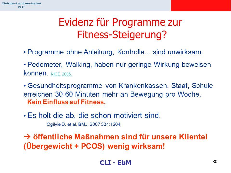 CLI - EbM 30 Evidenz f ü r Programme zur Fitness-Steigerung? Programme ohne Anleitung, Kontrolle... sind unwirksam. Pedometer, Walking, haben nur geri