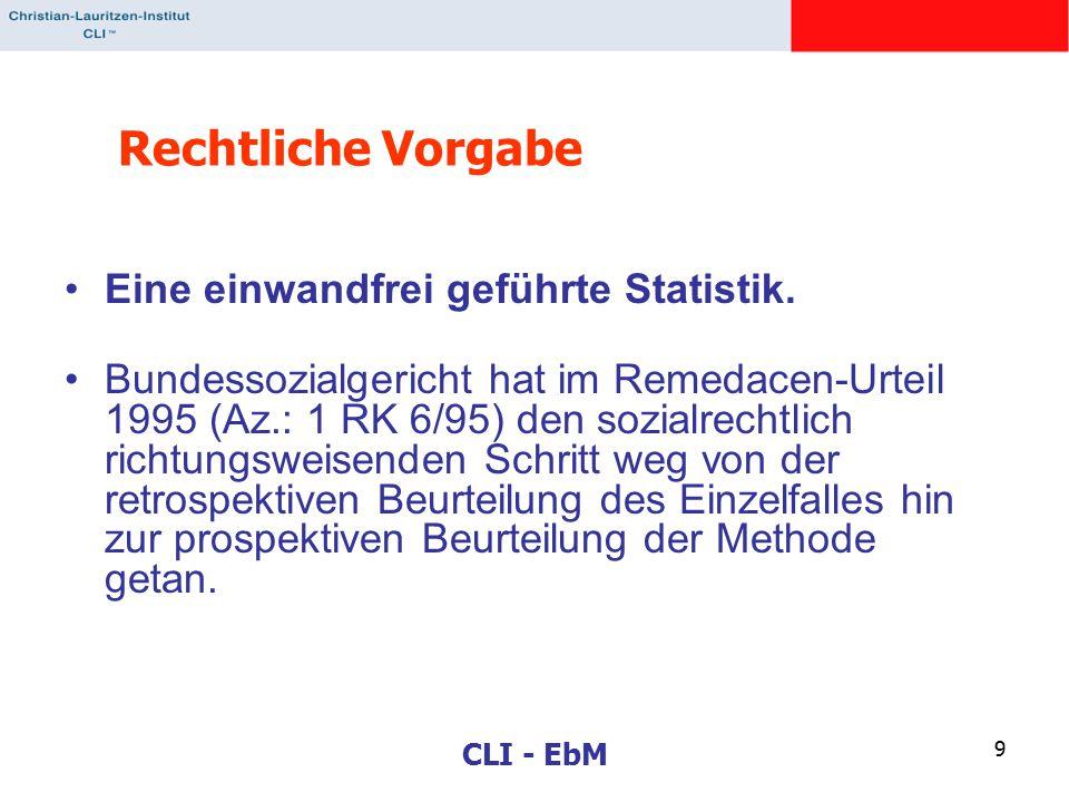 CLI - EbM 9 Rechtliche Vorgabe Eine einwandfrei geführte Statistik.