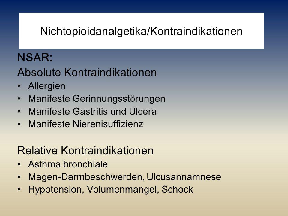 Nichtopioidanalgetika/Kontraindikationen NSAR: Absolute Kontraindikationen Allergien Manifeste Gerinnungsst ö rungen Manifeste Gastritis und Ulcera Ma