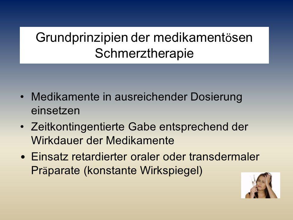Grundprinzipien der medikament ö sen Schmerztherapie Medikamente in ausreichender Dosierung einsetzen Zeitkontingentierte Gabe entsprechend der Wirkda