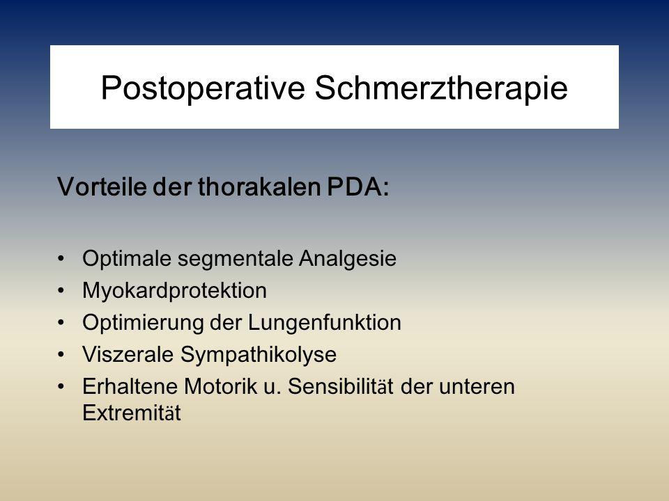 Postoperative Schmerztherapie Vorteile der thorakalen PDA: Optimale segmentale Analgesie Myokardprotektion Optimierung der Lungenfunktion Viszerale Sy