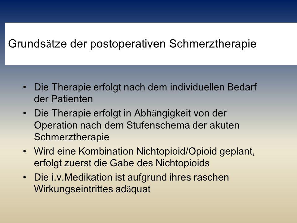 Grunds ä tze der postoperativen Schmerztherapie Die Therapie erfolgt nach dem individuellen Bedarf der Patienten Die Therapie erfolgt in Abh ä ngigkei