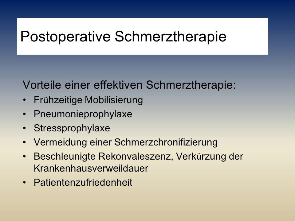 Postoperative Schmerztherapie Vorteile einer effektiven Schmerztherapie: Fr ü hzeitige Mobilisierung Pneumonieprophylaxe Stressprophylaxe Vermeidung e