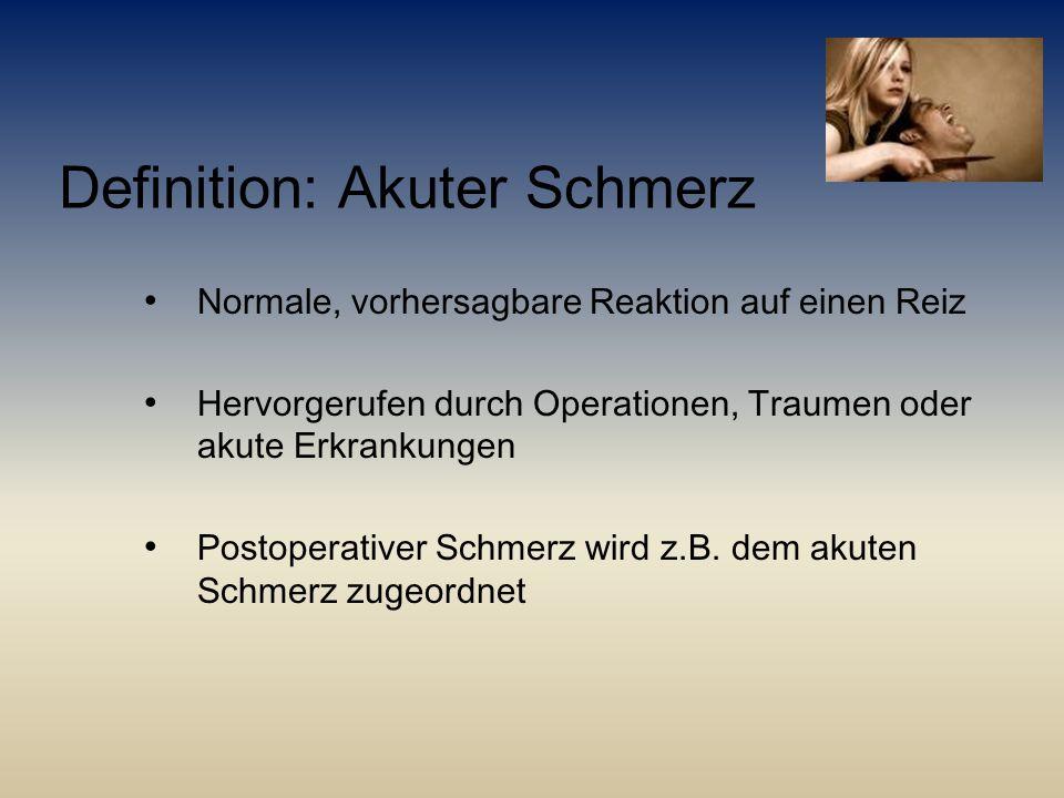 Definition: Akuter Schmerz Normale, vorhersagbare Reaktion auf einen Reiz Hervorgerufen durch Operationen, Traumen oder akute Erkrankungen Postoperati