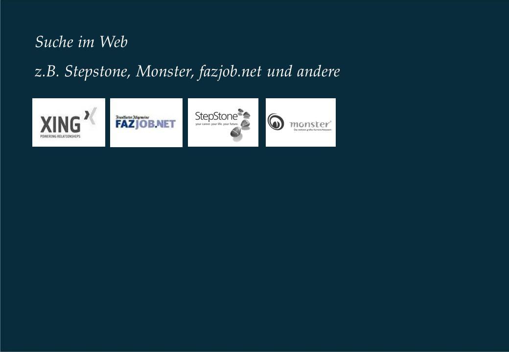 Suche im Web z.B. Stepstone, Monster, fazjob.net und andere