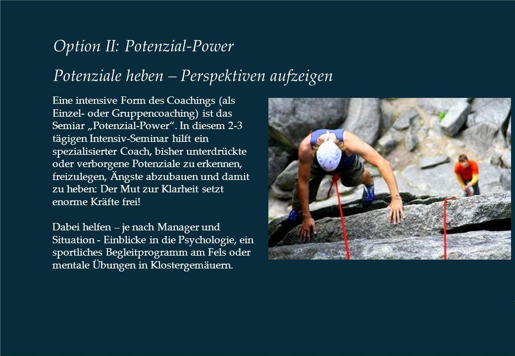 "Option II: Potenzial-Power Potenziale heben – Perspektiven aufzeigen Eine intensive Form des Coachings (als Einzel- oder Gruppencoaching) ist das Semiar ""Potenzial-Power ."