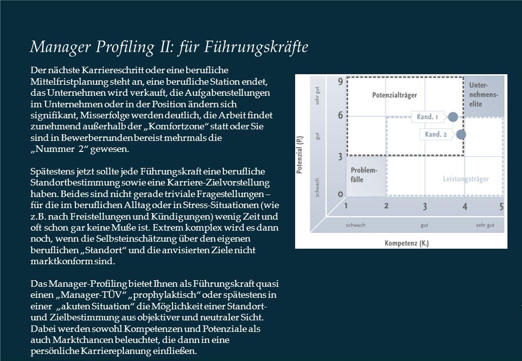 Manager Profiling II: für Führungskräfte Der nächste Karriereschritt oder eine berufliche Mittelfristplanung steht an, eine berufliche Station endet,
