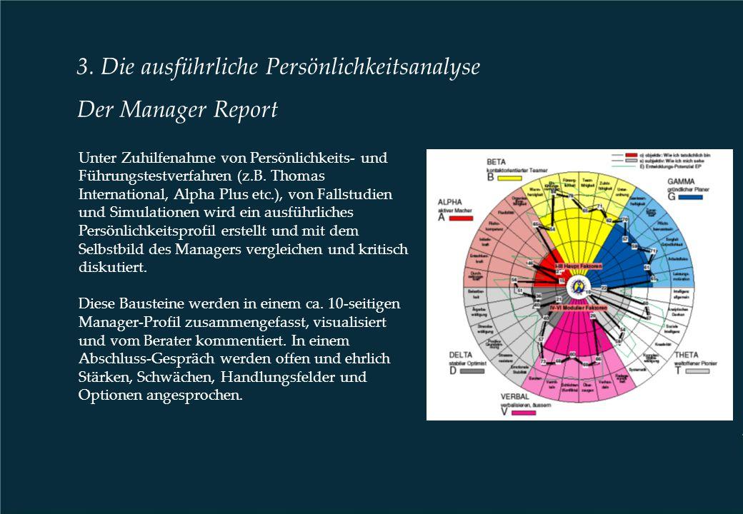 3. Die ausführliche Persönlichkeitsanalyse Der Manager Report Unter Zuhilfenahme von Persönlichkeits- und Führungstestverfahren (z.B. Thomas Internati