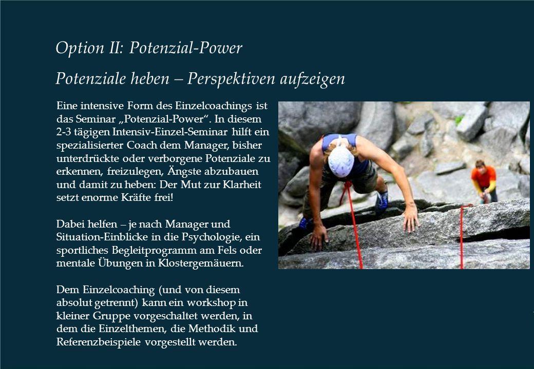 """Option II: Potenzial-Power Potenziale heben – Perspektiven aufzeigen Eine intensive Form des Einzelcoachings ist das Seminar """"Potenzial-Power"""". In die"""