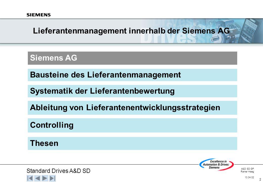 Standard Drives A&D SD A&D SD GP Rainer Haag 10.04.02 2 Lieferantenmanagement innerhalb der Siemens AG Siemens AG Systematik der Lieferantenbewertung