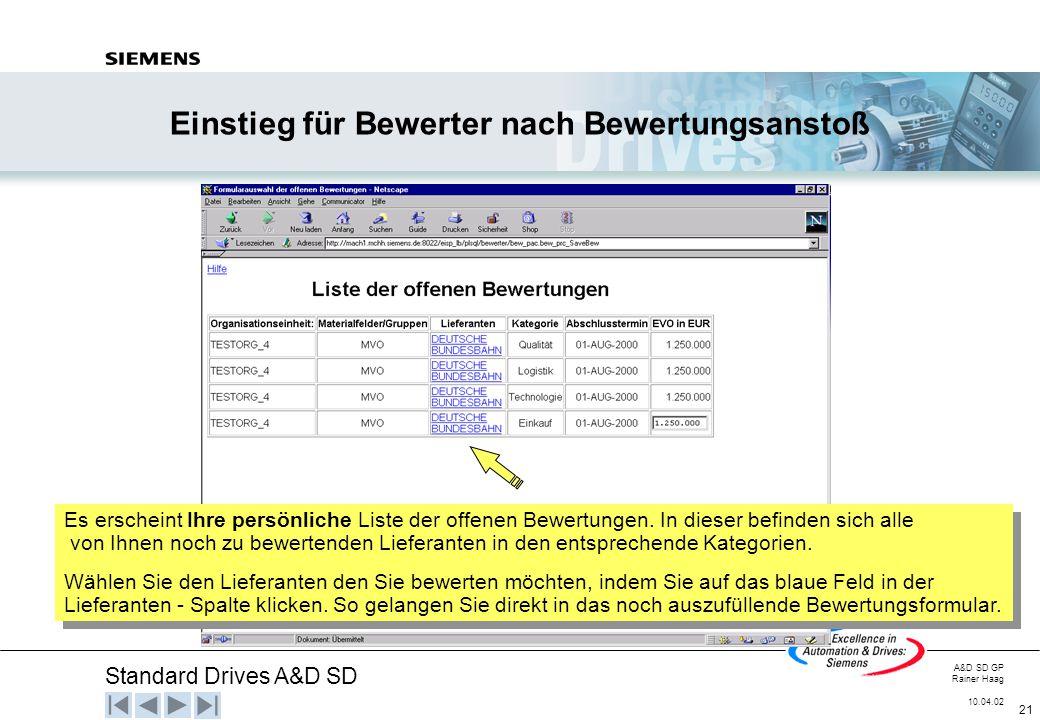 Standard Drives A&D SD A&D SD GP Rainer Haag 10.04.02 21 Einstieg für Bewerter nach Bewertungsanstoß Es erscheint Ihre persönliche Liste der offenen B