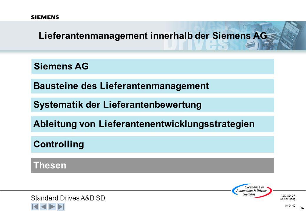 Standard Drives A&D SD A&D SD GP Rainer Haag 10.04.02 34 Siemens AG Systematik der Lieferantenbewertung Ableitung von Lieferantenentwicklungsstrategie