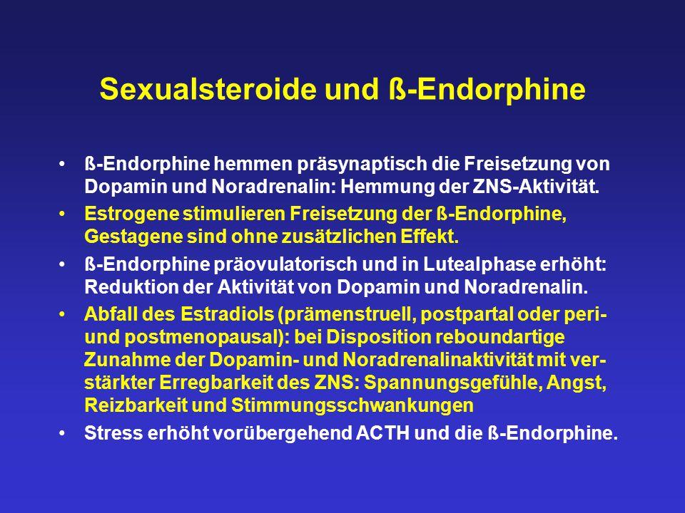 Sexualsteroide und ß-Endorphine ß-Endorphine hemmen präsynaptisch die Freisetzung von Dopamin und Noradrenalin: Hemmung der ZNS-Aktivität. Estrogene s