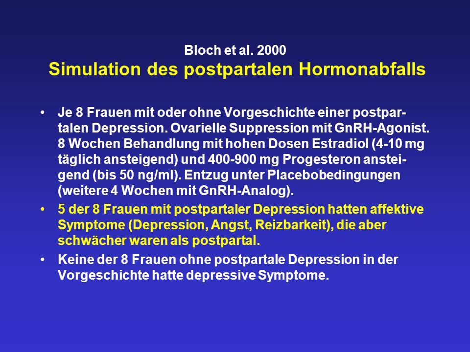 Bloch et al. 2000 Simulation des postpartalen Hormonabfalls Je 8 Frauen mit oder ohne Vorgeschichte einer postpar- talen Depression. Ovarielle Suppres