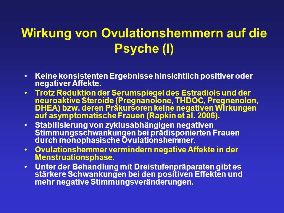 Wirkung von Ovulationshemmern auf die Psyche (I) Keine konsistenten Ergebnisse hinsichtlich positiver oder negativer Affekte. Trotz Reduktion der Seru