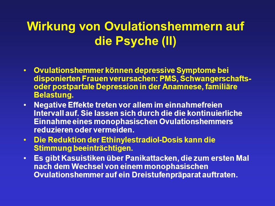 Wirkung von Ovulationshemmern auf die Psyche (II) Ovulationshemmer können depressive Symptome bei disponierten Frauen verursachen: PMS, Schwangerschaf