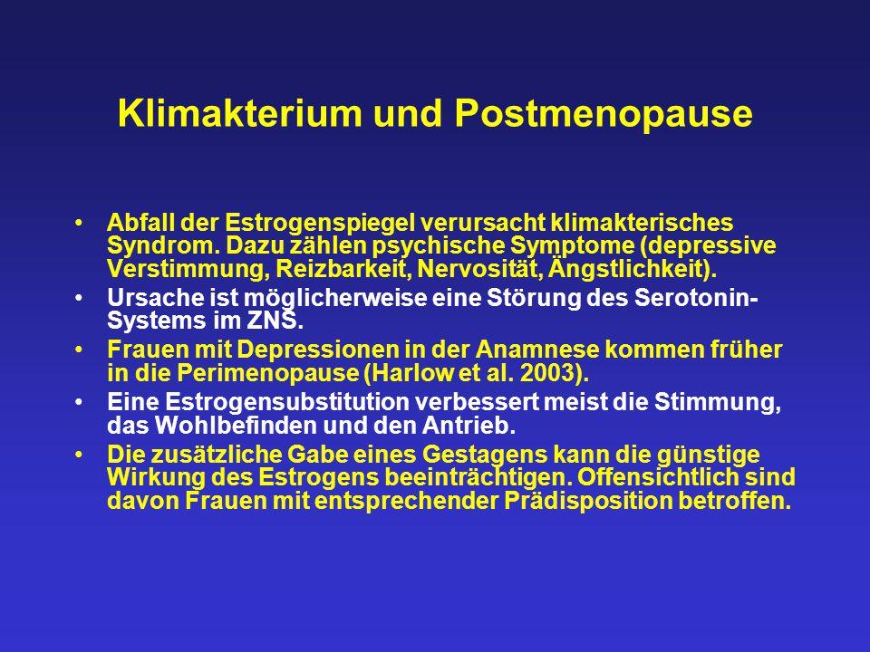 Klimakterium und Postmenopause Abfall der Estrogenspiegel verursacht klimakterisches Syndrom. Dazu zählen psychische Symptome (depressive Verstimmung,