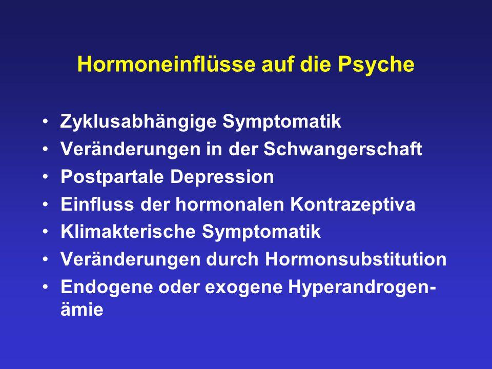 Hormoneinflüsse auf die Psyche Zyklusabhängige Symptomatik Veränderungen in der Schwangerschaft Postpartale Depression Einfluss der hormonalen Kontraz