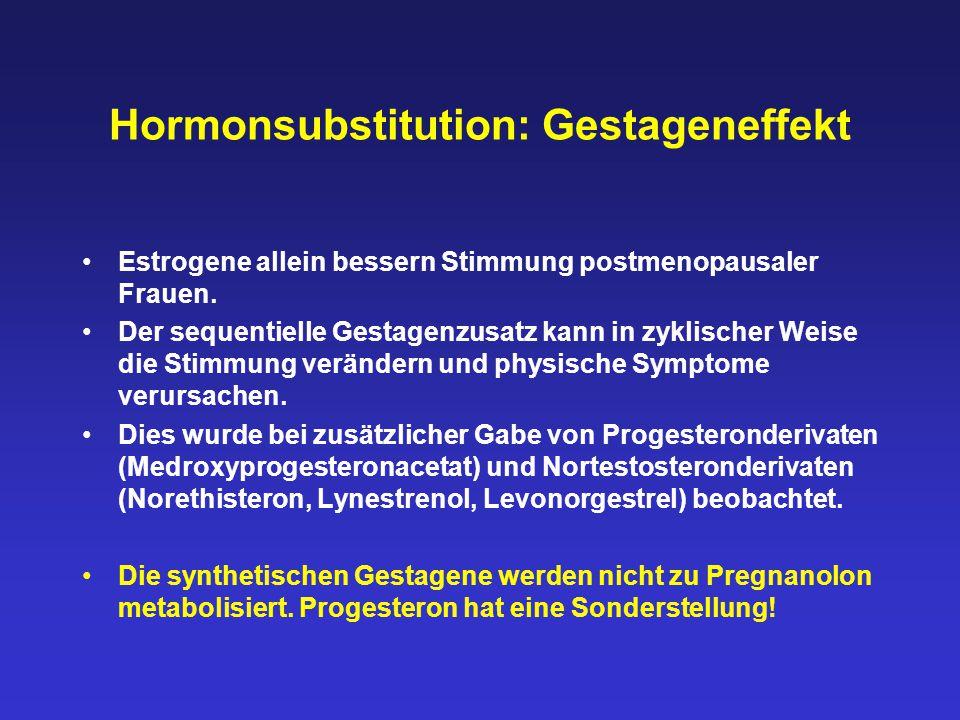 Hormonsubstitution: Gestageneffekt Estrogene allein bessern Stimmung postmenopausaler Frauen. Der sequentielle Gestagenzusatz kann in zyklischer Weise