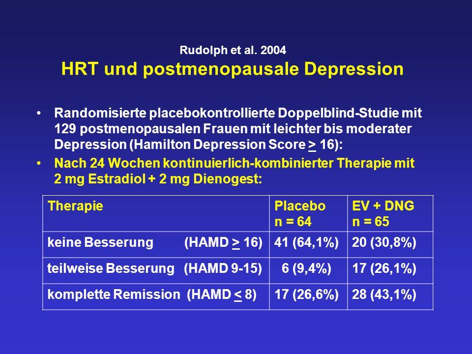 Rudolph et al. 2004 HRT und postmenopausale Depression Randomisierte placebokontrollierte Doppelblind-Studie mit 129 postmenopausalen Frauen mit leich