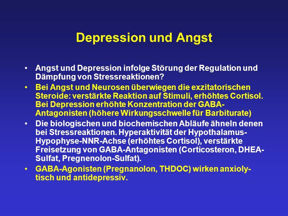 Depression und Angst Angst und Depression infolge Störung der Regulation und Dämpfung von Stressreaktionen? Bei Angst und Neurosen überwiegen die exzi
