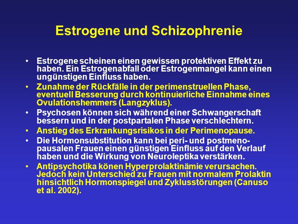 Estrogene und Schizophrenie Estrogene scheinen einen gewissen protektiven Effekt zu haben. Ein Estrogenabfall oder Estrogenmangel kann einen ungünstig