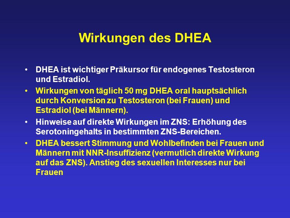 Wirkungen des DHEA DHEA ist wichtiger Präkursor für endogenes Testosteron und Estradiol. Wirkungen von täglich 50 mg DHEA oral hauptsächlich durch Kon