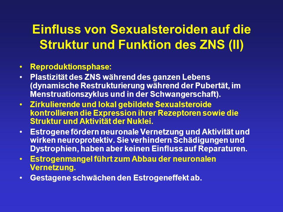Einfluss von Sexualsteroiden auf die Struktur und Funktion des ZNS (II) Reproduktionsphase: Plastizität des ZNS während des ganzen Lebens (dynamische