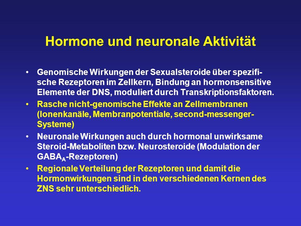 Hormone und neuronale Aktivität Genomische Wirkungen der Sexualsteroide über spezifi- sche Rezeptoren im Zellkern, Bindung an hormonsensitive Elemente