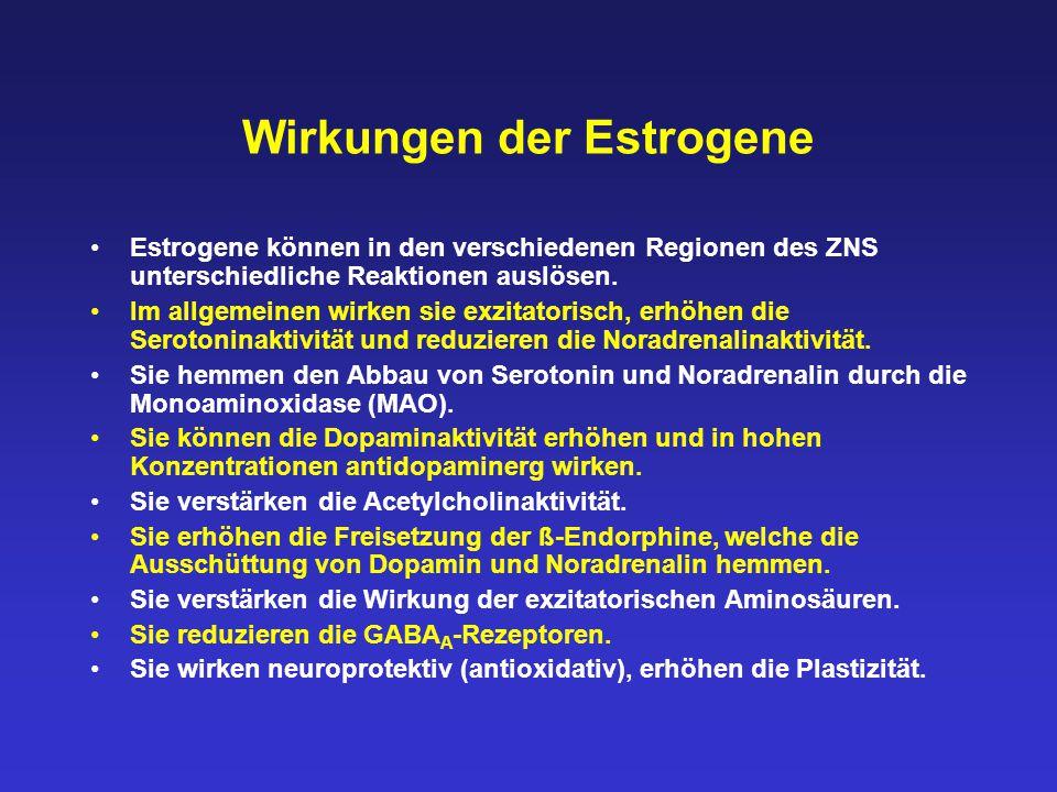 Wirkungen der Estrogene Estrogene können in den verschiedenen Regionen des ZNS unterschiedliche Reaktionen auslösen. Im allgemeinen wirken sie exzitat