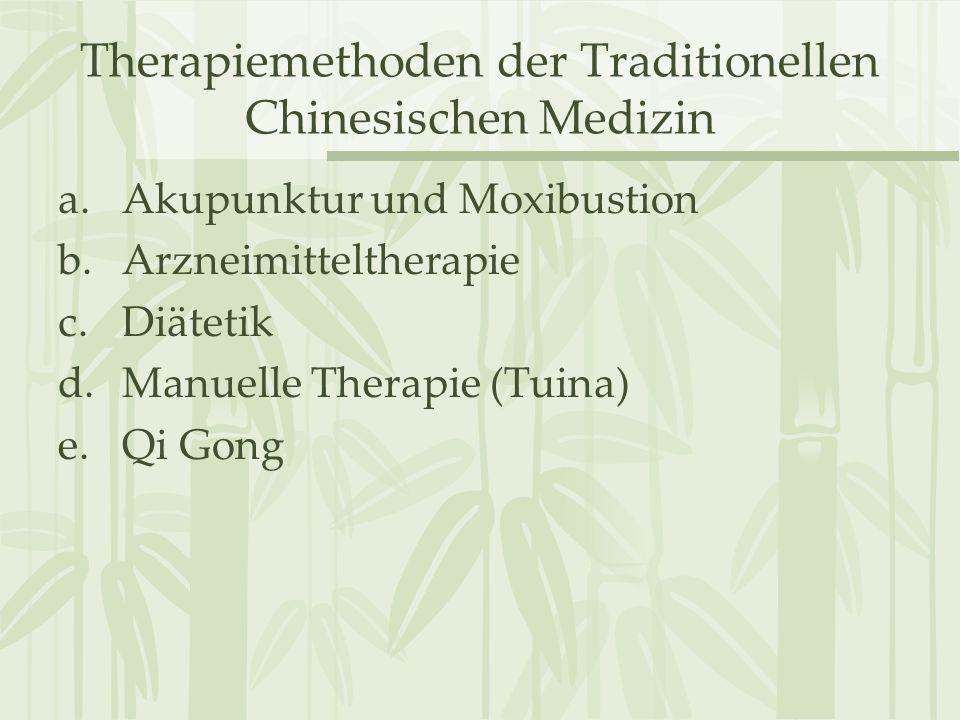 Therapiemethoden der Traditionellen Chinesischen Medizin a.Akupunktur und Moxibustion b.Arzneimitteltherapie c.Diätetik d.Manuelle Therapie (Tuina) e.