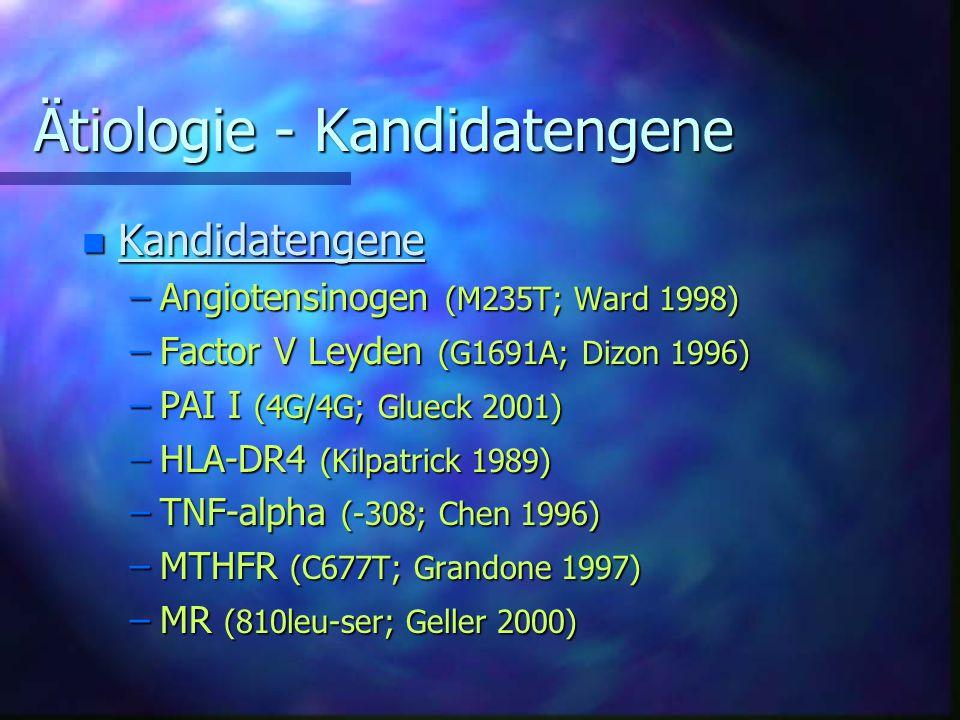 Ätiologie - Kandidatengene n Kandidatengene –Angiotensinogen (M235T; Ward 1998) –Factor V Leyden (G1691A; Dizon 1996) –PAI I (4G/4G; Glueck 2001) –HLA-DR4 (Kilpatrick 1989) –TNF-alpha (-308; Chen 1996) –MTHFR (C677T; Grandone 1997) –MR (810leu-ser; Geller 2000)