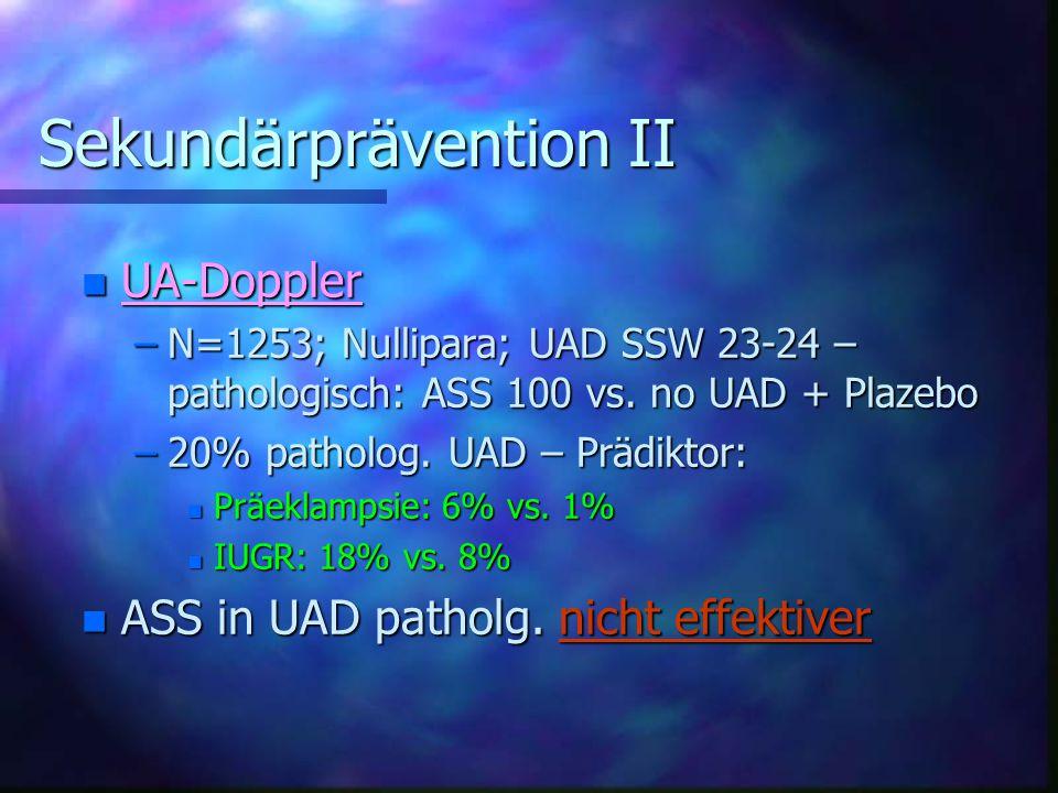 Sekundärprävention II Sekundärprävention II n UA-Doppler –N=1253; Nullipara; UAD SSW 23-24 – pathologisch: ASS 100 vs.